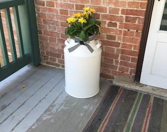 Rustic front porch, front porch decor, outdoor decor, farmhouse front porch - milk can decor - metal milk can - patio decor
