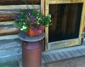 Rusty Milk Can Container, Rustic Front Porch Decor, Rustic wood table, Large Patio Decor, Large Front Proch Decor