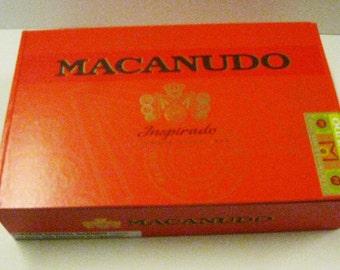 Large Red Cigar Box Macanudo Inspirado Cedar Wood Red Paper Pocketbook Making Purse Jewelry Box Supply Cigar Box Craft Supply Storage Box