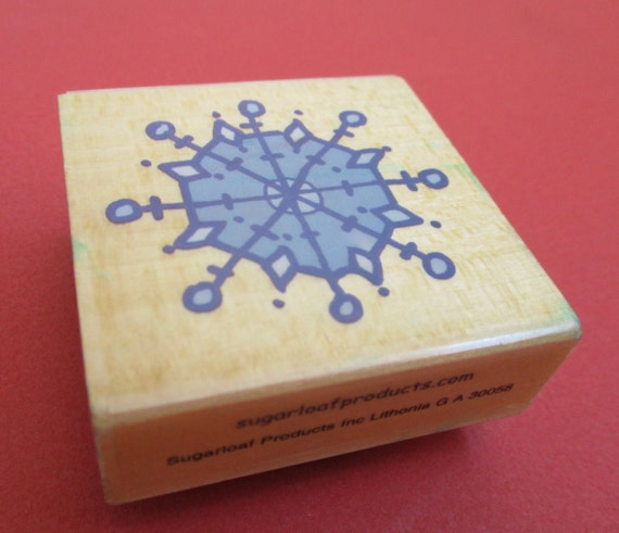 Stylized snowflake winter craft rubber stamp wood mounted for Rubber stamps arts and crafts