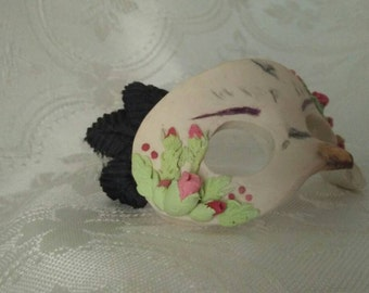 """Tiny 2 1/2"""" hand sculpted clay masquerade mask, costume ball mask, beak and roses miniature mardi gras prom costume ball collectible fierce"""