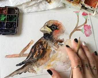 A bird and flower Original Watercolor Painting