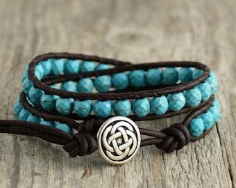 Turquoise beaded bracelet. Bohemian chic leather wrap