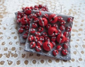 monday / grey and red textile earrings / square earrings / earrings with wooden beads
