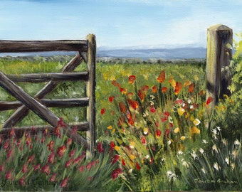 Country Field Flowers Gate Post SFA  Original hand painted acrylic Landscape painting by Australian Artist Janet M Graham