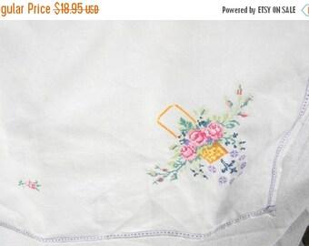 End of Summer Sale Vintage 50's Floral Petit Point Linen Table Topper Tablecloth