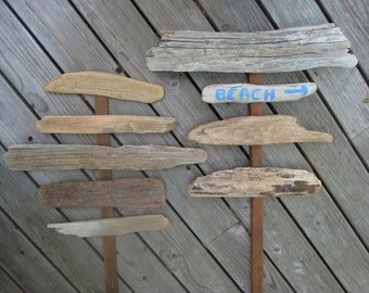 Driftwood Signs, Beach Wedding Decor, 8 Drift Wood Sign Pieces, DIY Beach Wedding, Craft Supplies--Lot LG14
