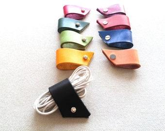 Eadphones wrap, Iphone earbud holder, Leather cable wrap, Leather cord wraps, Cable cord wrap, Earphone cable wrap, Earphone cord winder