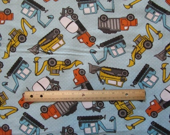 Blue Dot Construction/Truck/Dozer Flannel Fabric by the Yard