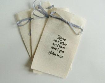 Religious Gifts-Baptism Favor Bags-Christening Favor Bags-Communion Favors-Bible Quotation-Love Each Other-Religious Favors-First Communion