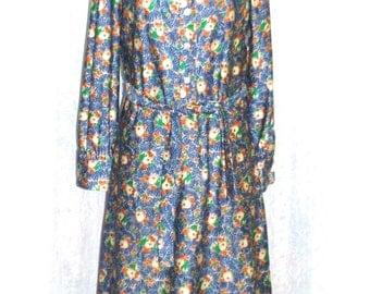 ON SALE MOD Dress: Vintage Mod Dress / Floral 60s Dress / 60s Mod Dress / 60s shirt dress / Floral Mod Dress / Twiggy Mod Dress / Psychedeli