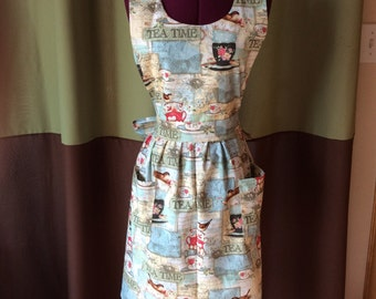 Tea Time Bib Style Womans Apron