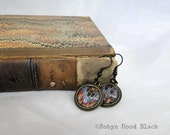 Antique Dickens 1863 Endpapers Upcycled Earrings - Bold Blue