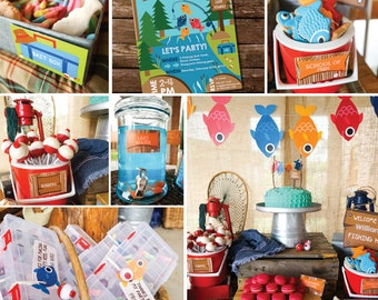 Fishing Party Decorations - Boys Fishing Birthday Party Decor - Gone Fishing Party Decorations - Instant Download - Editable File