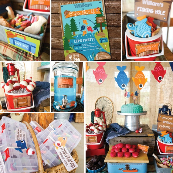 Fishing party decorations boys fishing birthday party decor for Fish birthday party