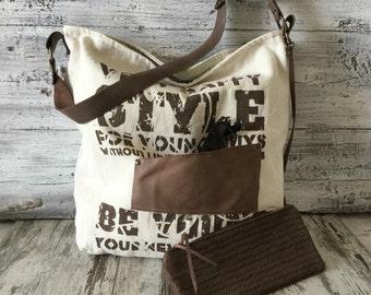 Canvas and Leather Shoulder Bag, Tote Bag, Messenger Bag, Laptop Bag, Travel Bag Shopping Bag, Everyday Tote Bag, Rustic Tote Bag
