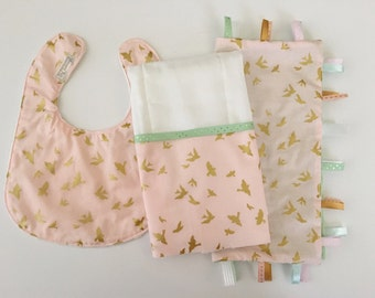 Ready to Ship!...Baby Gift Set...Burp Cloth/Bib/Ribbon Lovey...Flight with Gold Birds...Shower Chic
