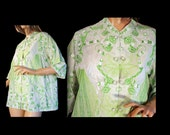 Boho Vintage 70s Blouse Green Tunic Butterfly Embroidery Trim Philippines