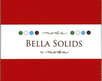 Bella Solids Red Charm Pack, Set of 42 5-inch Precut Cotton Fabric Squares (9900PP-16)