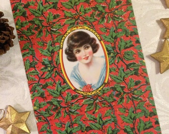 1920s Flapper Paper Candy Box Wrapper UNUSED, Christmas Decoration Poinsettias, Art Print for Framing