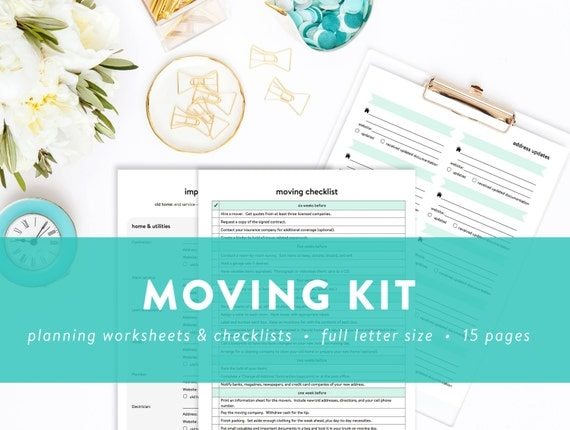 Moving Kit - Moving Checklist, Inventory, Contacts, Room Planner, and more - INSTANT DOWNLOAD