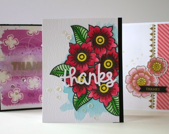 Set of 3 Thank You Greeting Cards, Thank You Notecards, Watercolor Cards