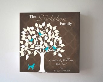 Custom Family Tree With Birds Canvas Art, Anniversary Wedding Housewarming Gift, Personalized Gift