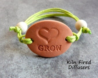 GROW Adjustable Diffuser Bracelet Charm Aromatherapy Essential Oil Bisque Clay Terracotta Terra Cotta Yoga Scent Hypoallergenic Jewelry