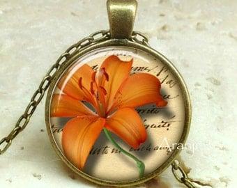 Orange Tiger lily pendant, orange flower pendant, orange flower necklace, lily pendant, lily necklace, Pendant #PL154BR