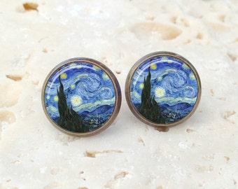Van Gogh Starry Night earrings, Starry Night earrings, Van Gogh earrings, fine art earrings AR145BR