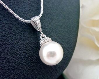SALE Wedding Jewelry Bridesmaid Gift Bridesmaid Jewelry Bridal Jewelry Ivory White OR Cream Swarovski Round Pearl Drop Necklace Hypoallergen