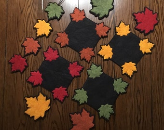 "Falling Maple Leaves Collection E-Pattern ~ Wool Felt Coasters, ""Whatever"" Mat (Penny Rug) and Twirlie"