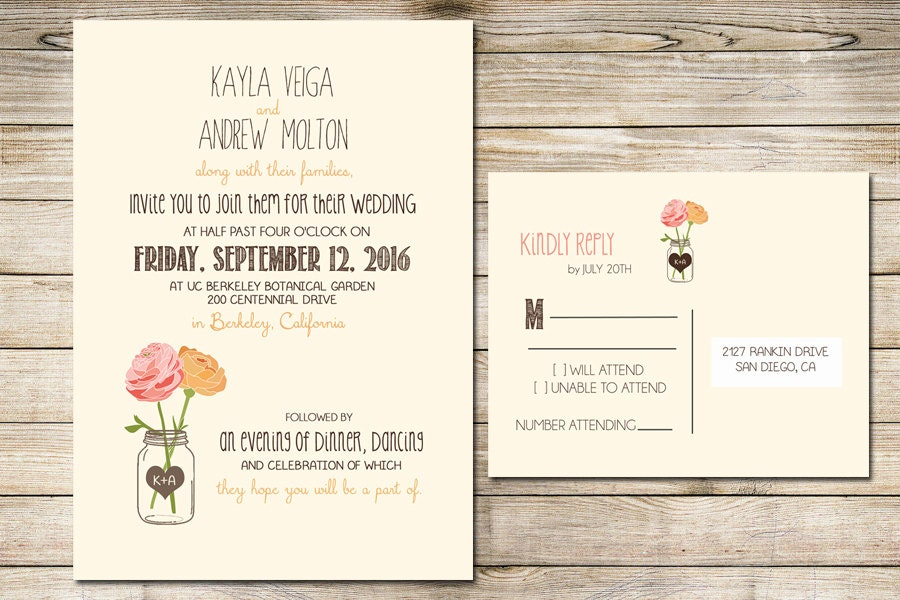 What To Include In A Wedding Invitation Pack: Wedding Invitation Printable With Flowers And Mason Jar