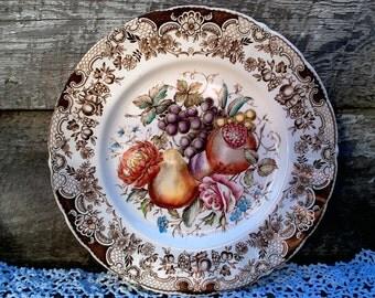 "Johnson Brothers Windsor Ware Harvest Fruit Dinner Plate,  10 5/8"", English Transferware, Holiday, English Transferware, Thanksgiving"