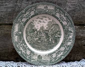 """CROWN DUCAL GREEN Colonial Times Dinner Plate, """"The First Thanksgiving in America"""", Green Transferware, English Transferware, Wall, Serving"""