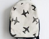 MADETOORDER, Toddler backpack, Children's backpack, Girl backpack, Boy backpack, airplane print, Block printed, Hand stamped, Kid's backpack