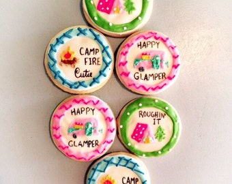 SALE-Glamping Sugar Cookie Favors-Glamling party-glamping birthday