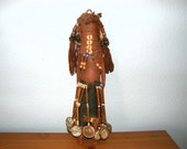 AFRICAN FERTILITY DOLL Very Old, Wood, Yarn, Coke Coca Cola Bottle Cap Decorations