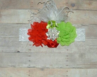 Christmas Princess Green and Red Flower Boutique Headband Baby Toddler Headband Flower Girl New Years Glitter Lace Ostrich Feathers