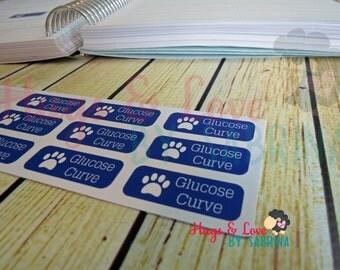 Glucose Curve for Pets - Diabetic - Diabeties - Planner Sticker - Size Customize-able