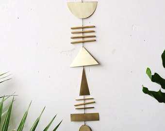 Made to order // Brass geometric wall hanging + geometric mobile