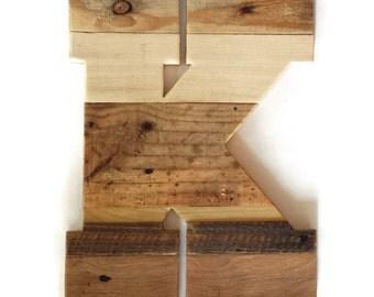 """Nursery decor, 16"""" wood letter, rustic home decor, reclaimed pallet wood, large wood letter, pallet wood letter, handmade wood letter"""