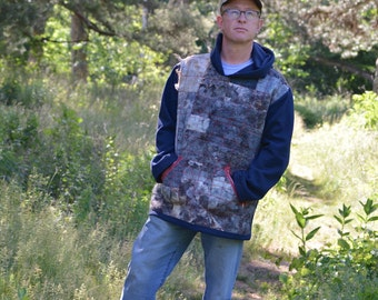 Felt for Men: oversize felt&stitch hoody (with wool felt quilted fragments) OOAK - to order only!