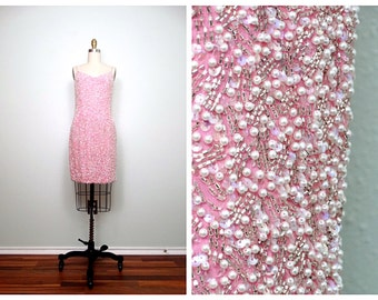 Iridescent Sequin Mini Dress / Bubblegum Pink Pearl Beaded Dress Size 6