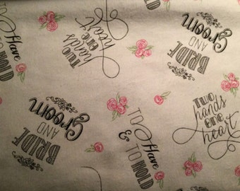 FLANNEL - Light Blue Wedding Day Fabric - To Have and To Hold - Wedding Day Flannel - Happily Ever After -  Bride and Groom Fabric