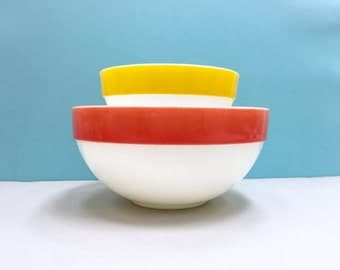 Fire King 'Colonial Band' Mixing Bowls