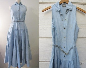 70s/80s Pale Blue Denim Shirtwaist Dress by Patty Woodard, XS-S // Vintage Sleeveless Day Dress // Shirtwaist Dress