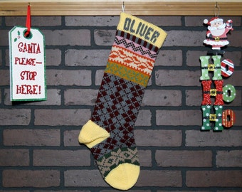 Argyle Christmas Stocking, Hand Knit Fair Isle in Yellow, with Snowflakes and Ivy, Can be Personalized, Housewarming Gift, Baby Shower Gift