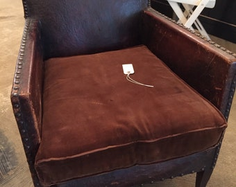 SOLD Vintage French Leather Club Chair