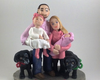 DEPOSIT ONLY!! Custom Polymer Clay Family Ornament, Christmas Ornament, Clay Family Figurine, Personalize Ornament, Clay Sculpture